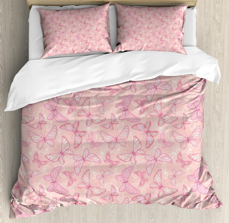 Pale Pink Duvet Cover Set with Pillow Shams Cute Butterflies Print