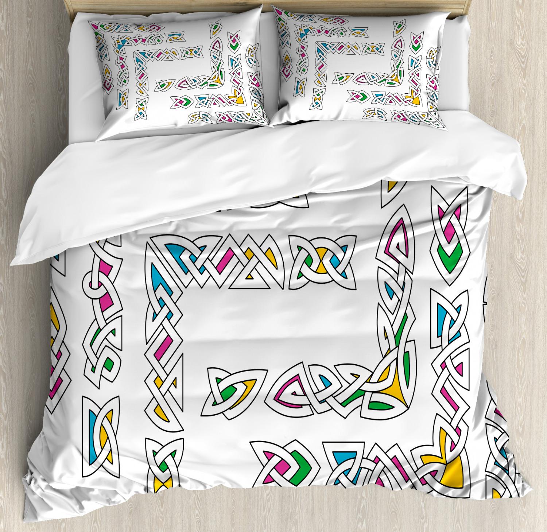 Irish Duvet Cover Set with Pillow Shams Gaelic Ornament Patt