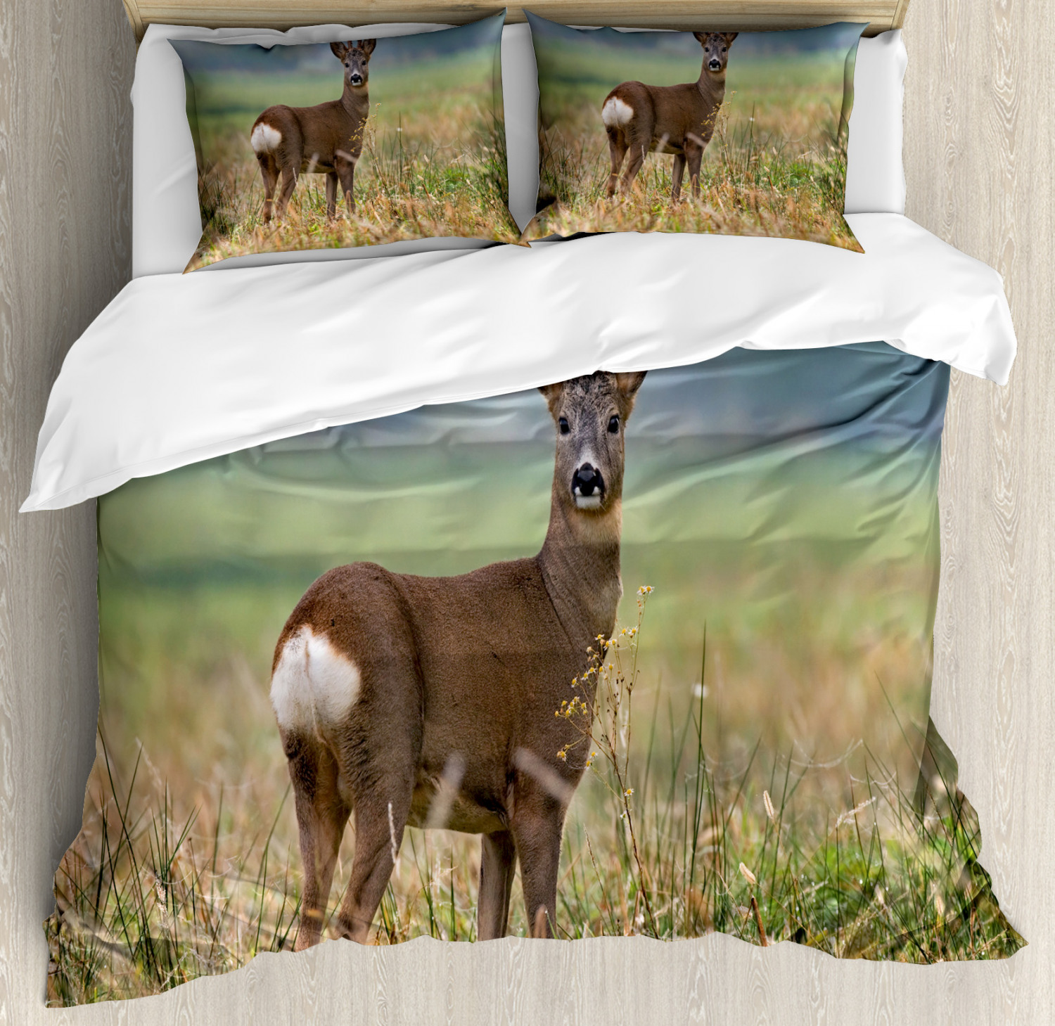 Hunting Duvet Cover Set with Pillow Shams Deer Wildlife Print