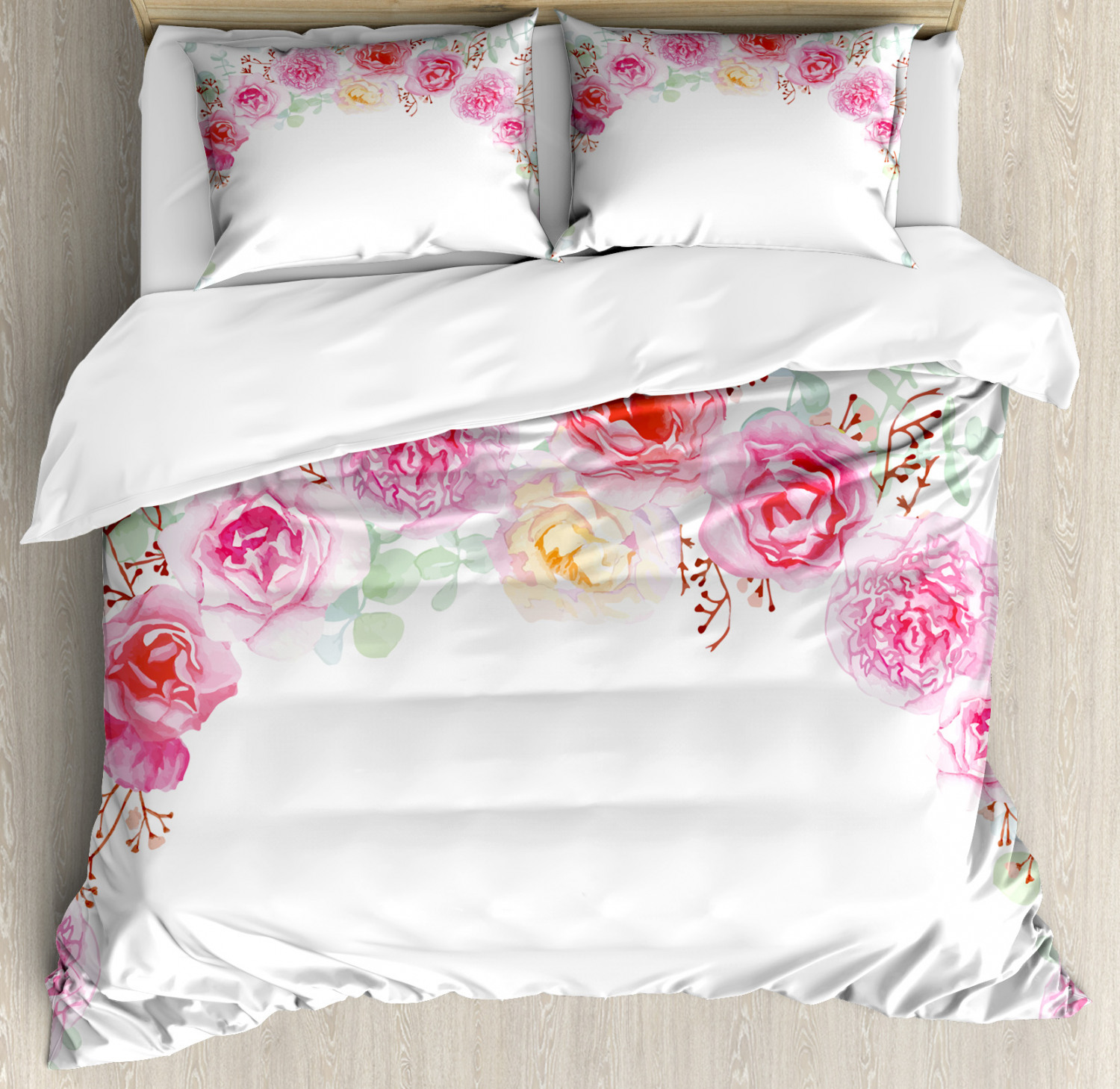 Shabby Chic Duvet Cover Set With Pillow Shams Floral