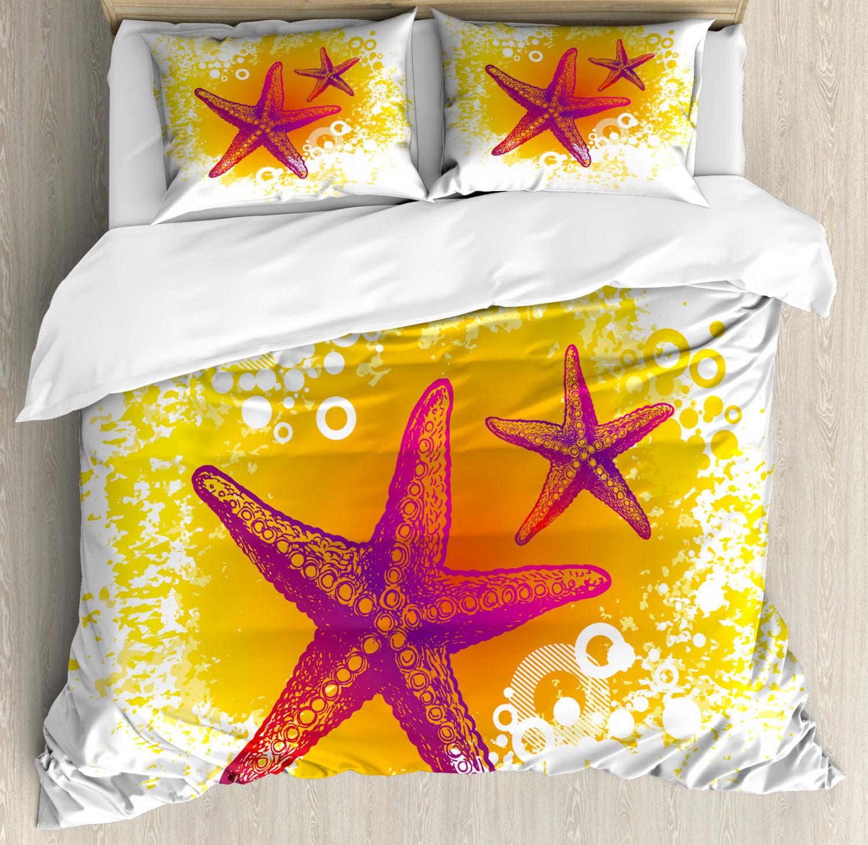 Starfish Duvet Cover Set with Pillow Shams Tropic Animals Print