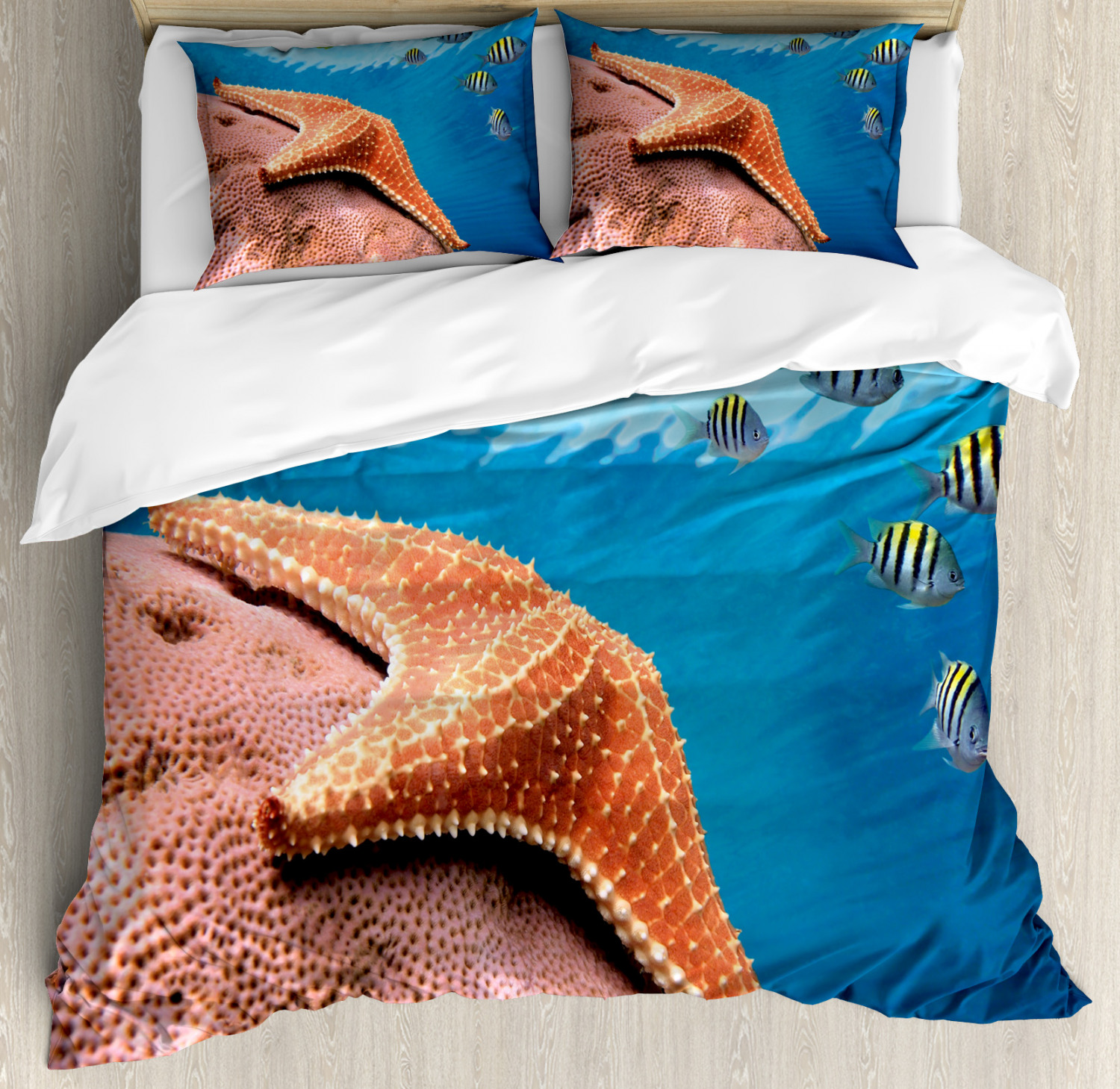 Starfish Duvet Cover Set with Pillow Shams Coral Fishes Sea Print