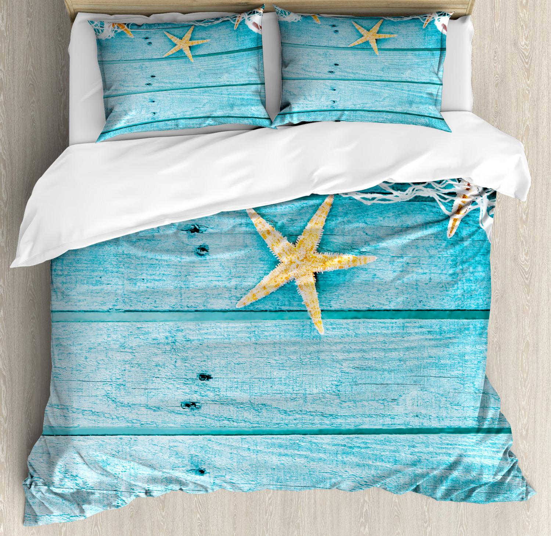 Starfish Duvet Cover Set with Pillow Shams Rustic Fish Net Print