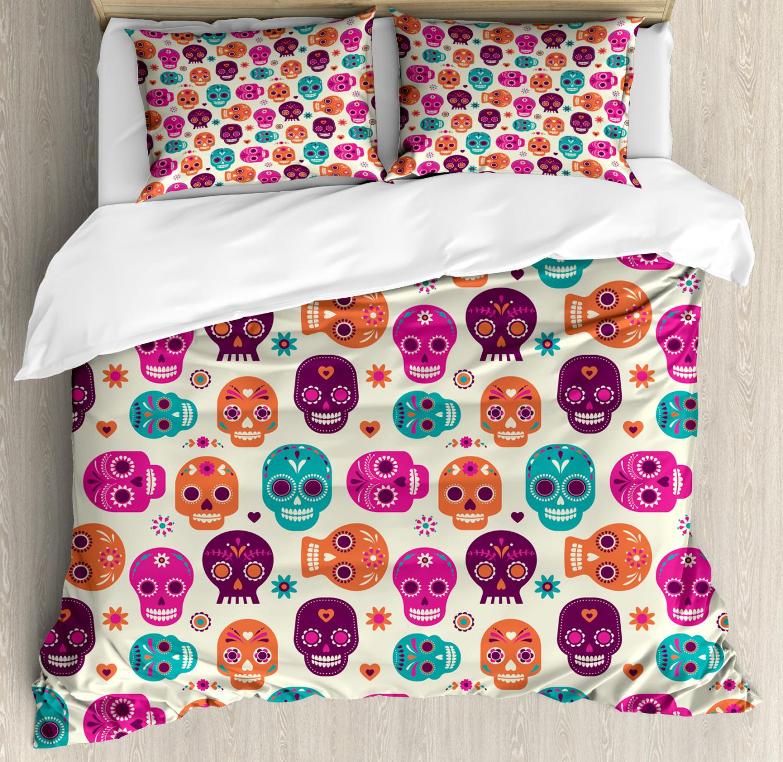 Sugar Skull Duvet Cover Set with Pillow Shams Cute Hearts Flora Print