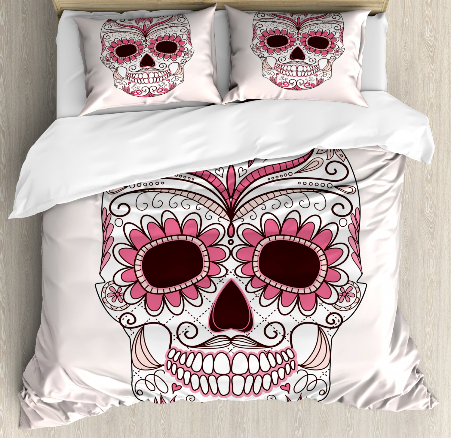 Sugar Skull Duvet Cover Set with Pillow Shams Mexican Ornaments Print