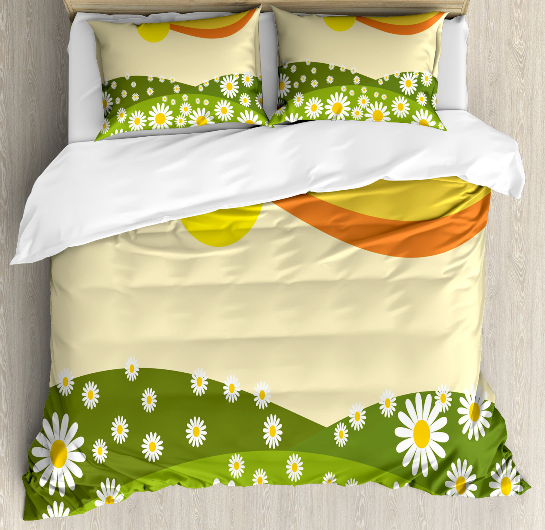 Nature Duvet Cover Set with Pillow Shams Daisy Flower Field Sun Print