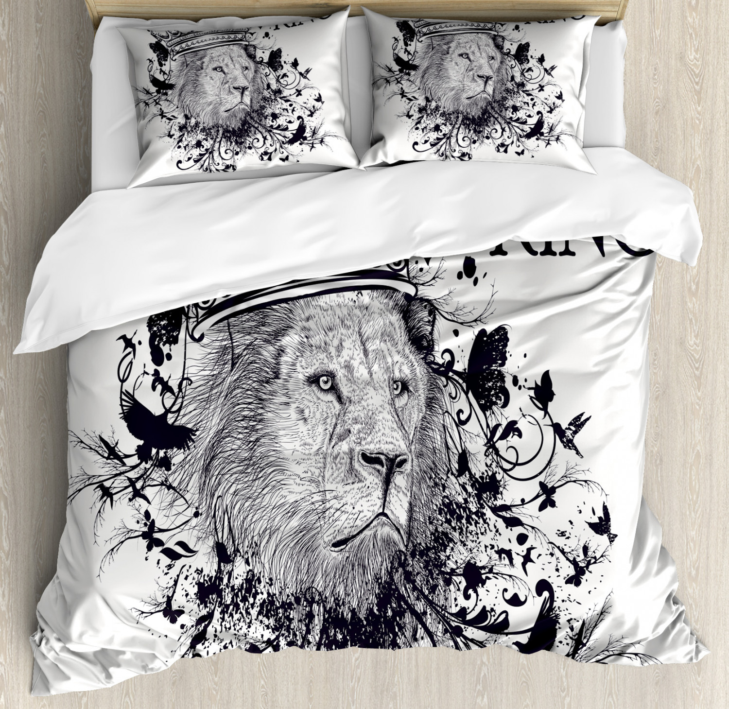 King Duvet Cover Set with Pillow Shams Reign of the Jungle Lion Print