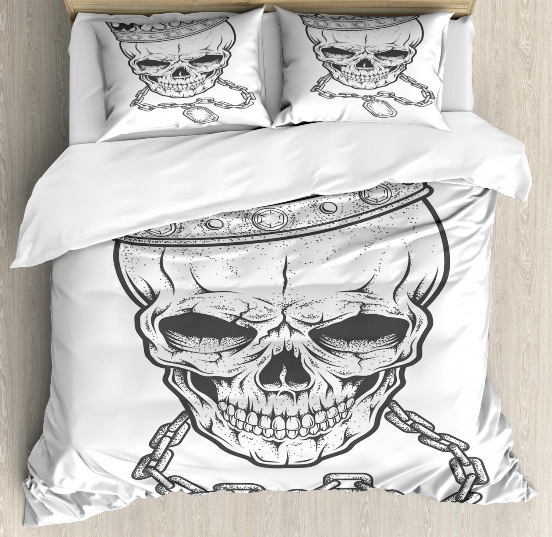 King Duvet Cover Set with Pillow Shams Skull Hip Hop Style Sketch Print
