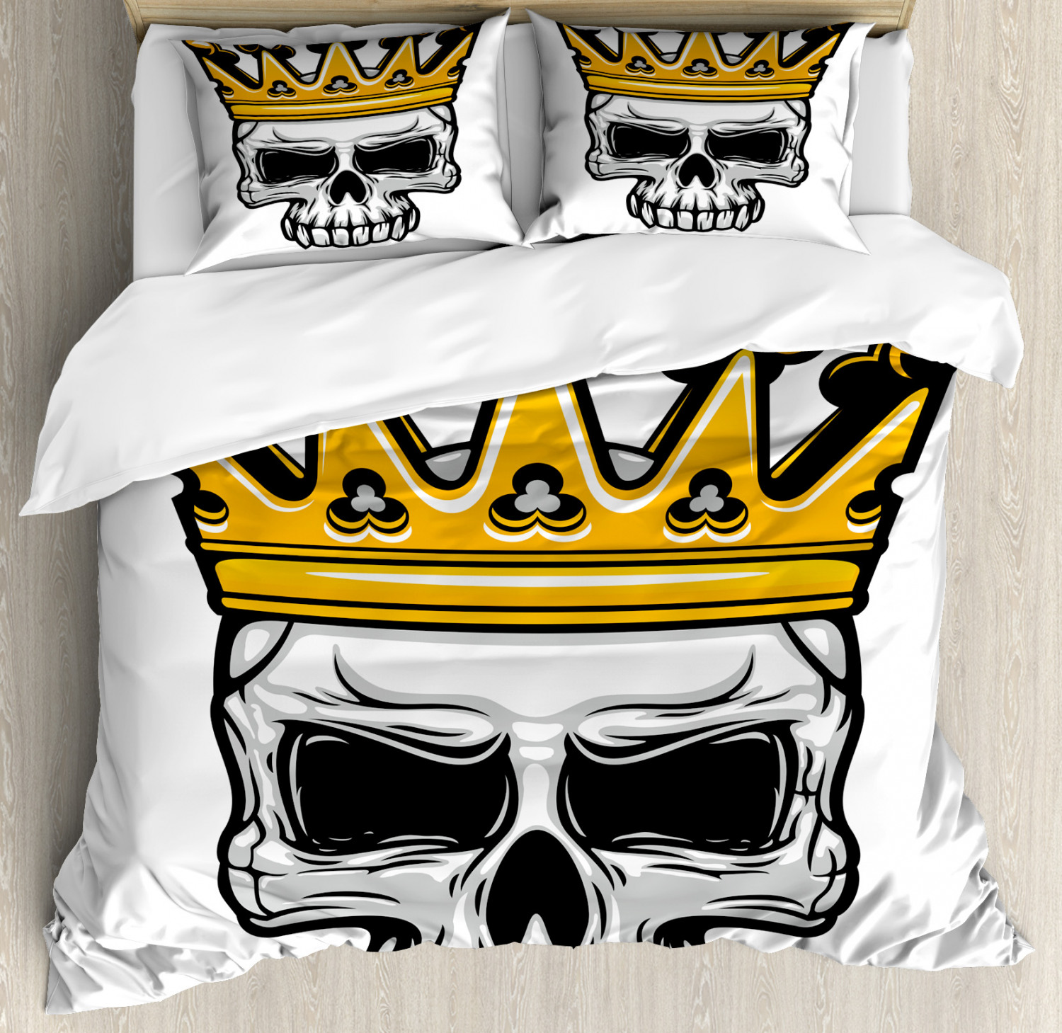 King Duvet Cover Set with Pillow Shams Skull Cranium with Coronet Print