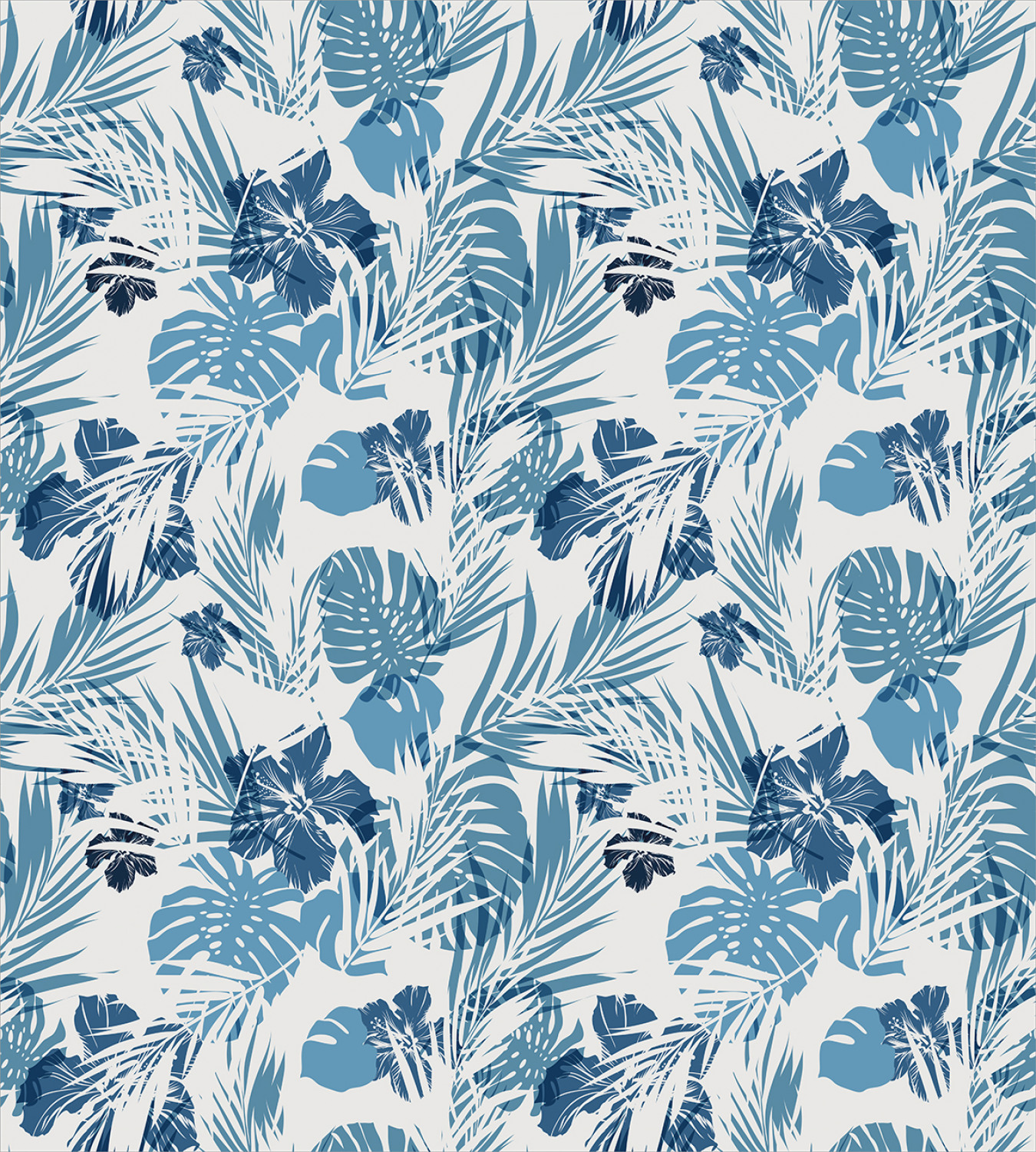 60 Tropical Hawaiian Flowers Floral Hibiscus Pink Cotton Fabric