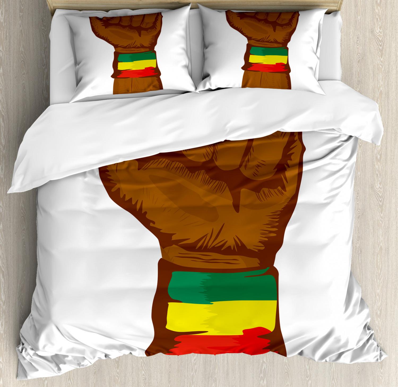 Rasta Duvet Cover Set with Pillow Shams Ethiopian Flag colors Print
