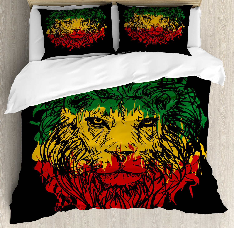 Rasta Duvet Cover Set with Pillow Shams Grunge Lion Head Portrait Print