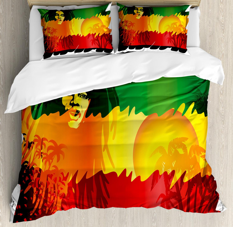 Rasta Duvet Cover Set with Pillow Shams Reggae Music Singer Icon Print