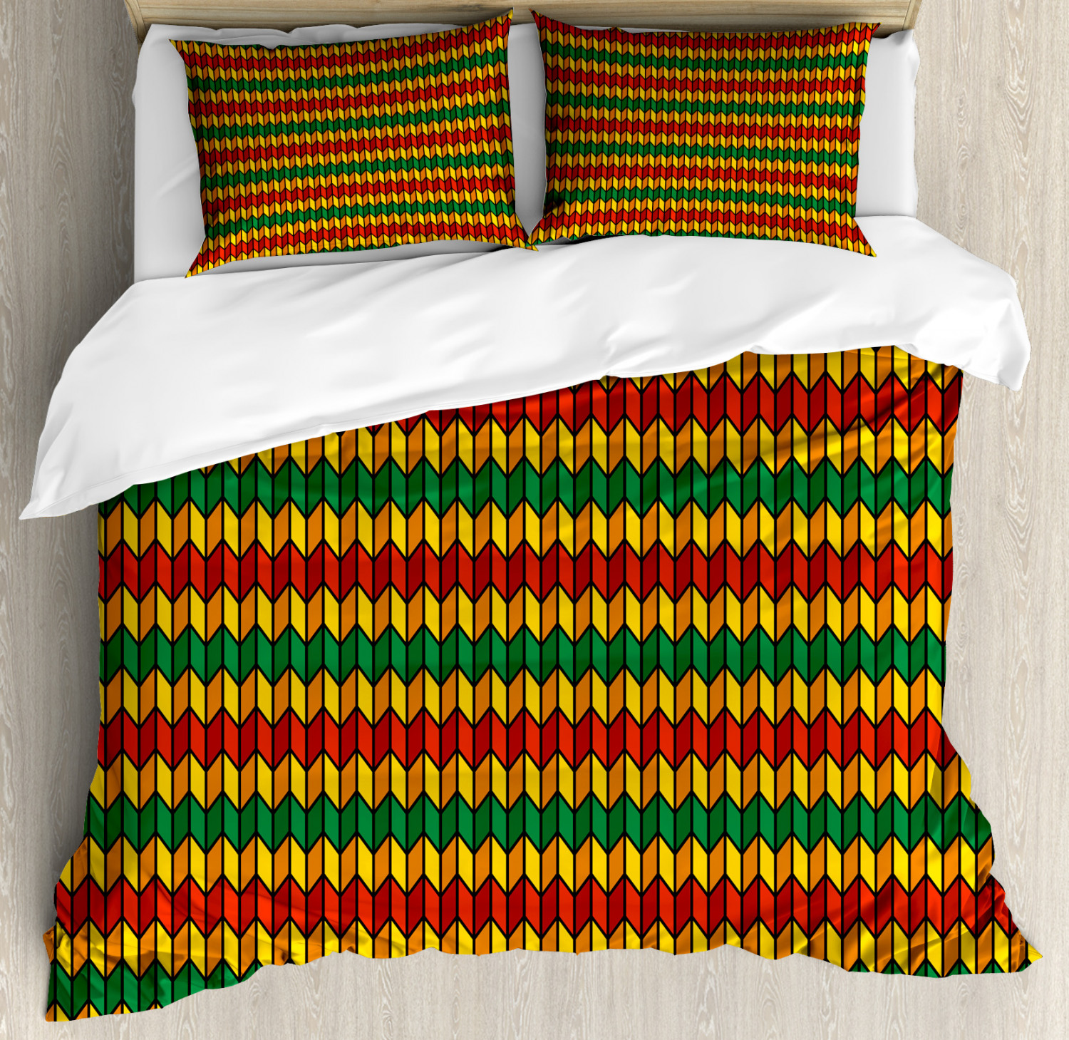 Rasta Duvet Cover Set with Pillow Shams Triangle Inspired Shapes Print