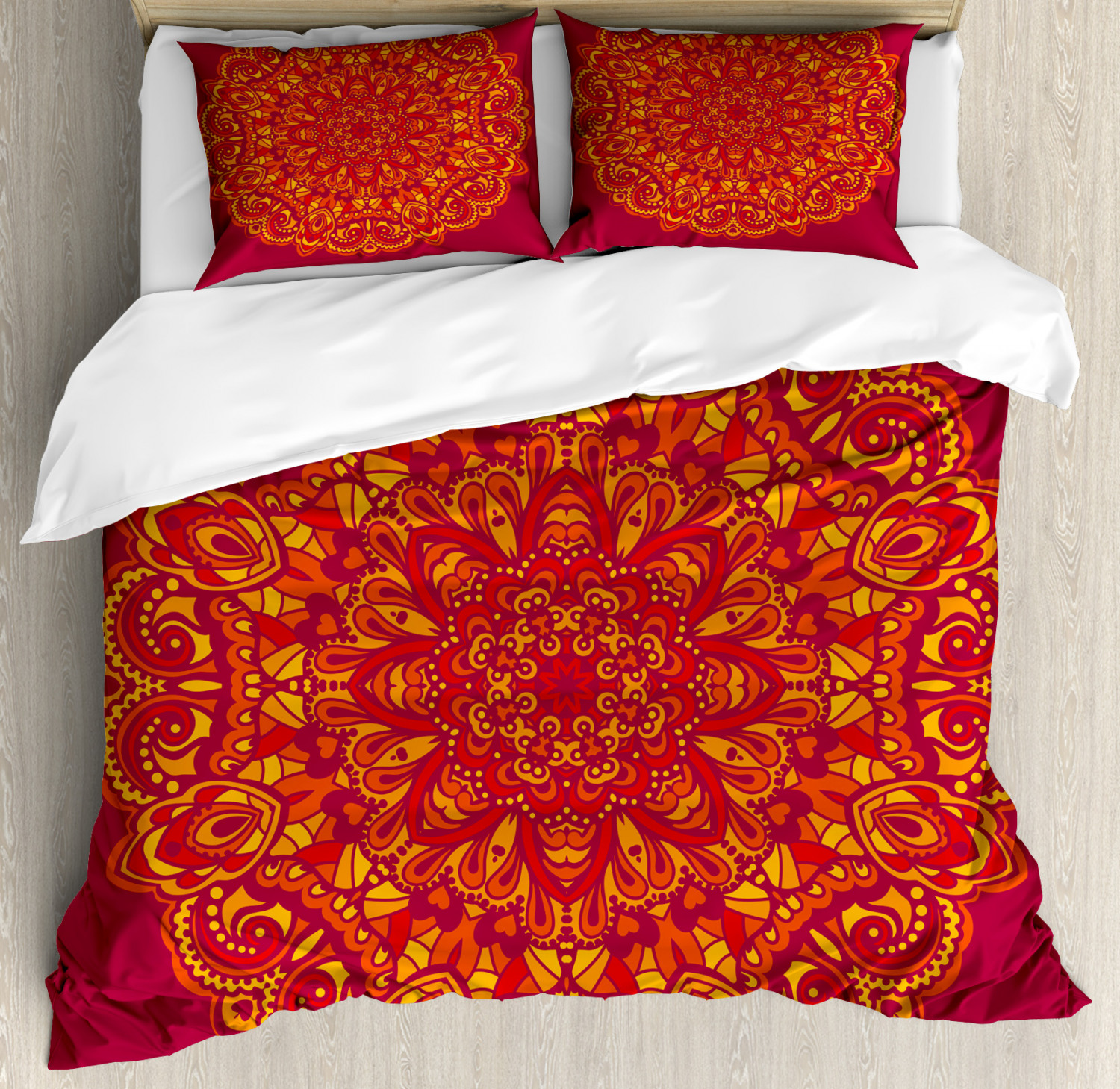 Red Mandala Duvet Cover Set with Pillow Shams Psychedelic Ancient Print