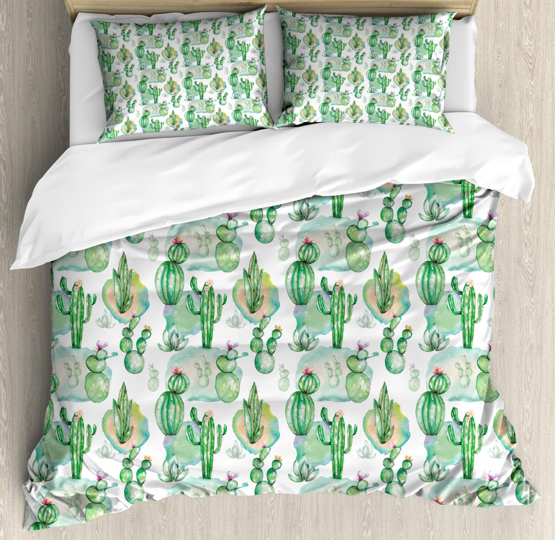 Cactus Duvet Cover Set with Pillow Shams Mexican Hot Summer Art Print
