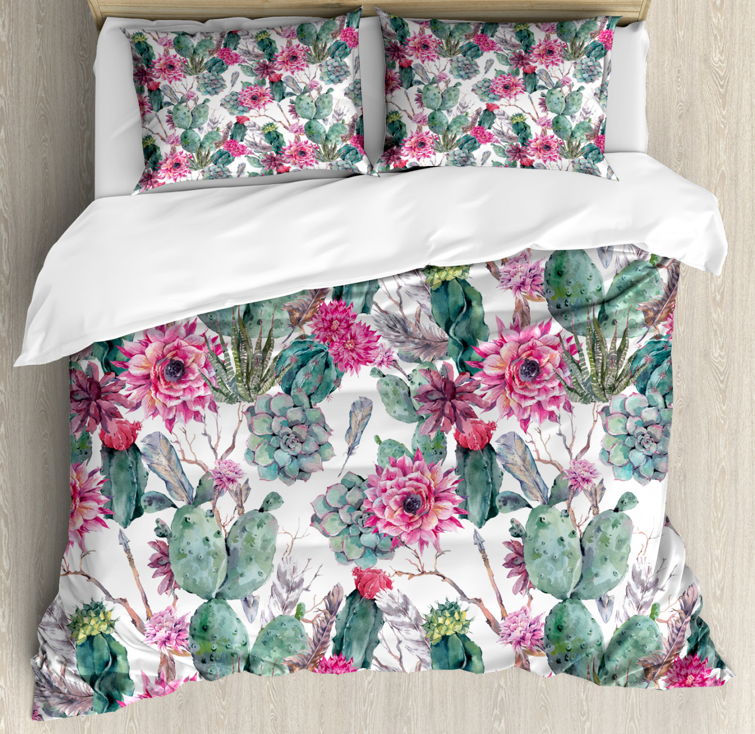 Cactus Duvet Cover Set with Pillow Shams Spring Blooms Boho Style Print
