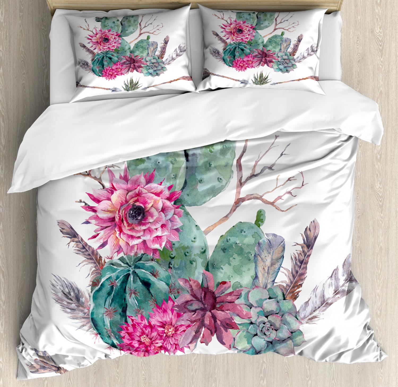 Cactus Duvet Cover Set with Pillow Shams Exotic Bouquet Vint