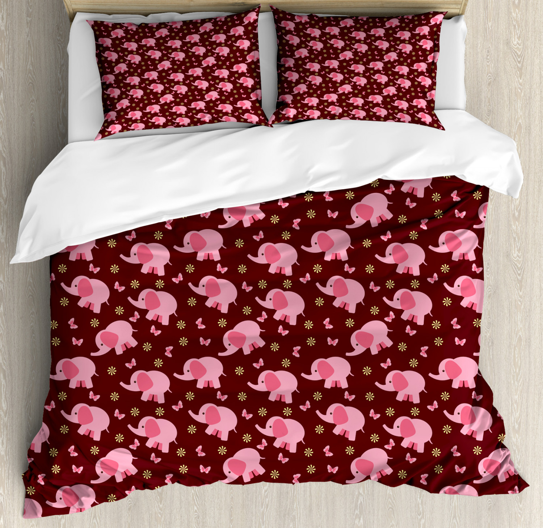 Elephant Nursery Duvet Cover Set with Pillow Shams Sweet Flowers Print