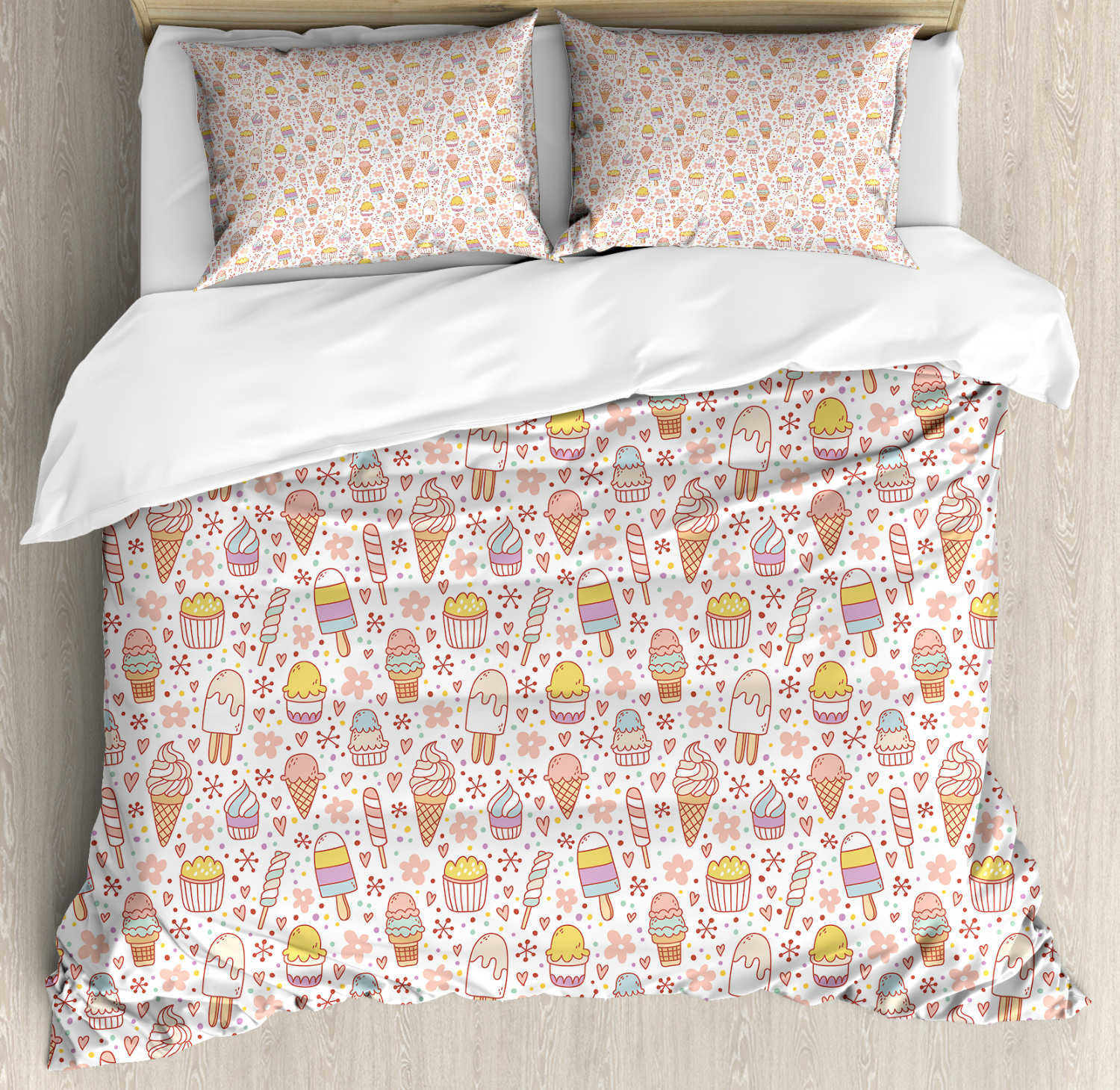 Ice Cream Duvet Cover Set with Pillow Shams Cute Candies Print
