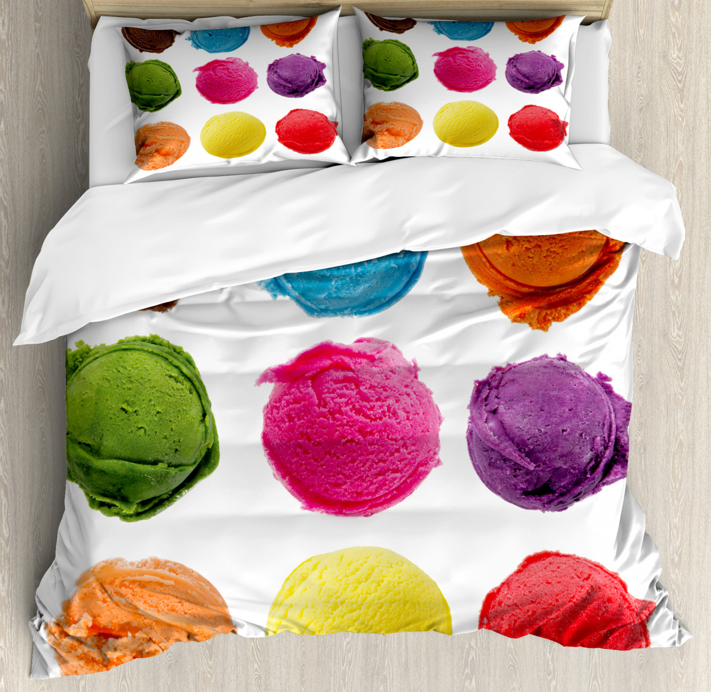 Ice Cream Duvet Cover Set with Pillow Shams Yummy Summer Print