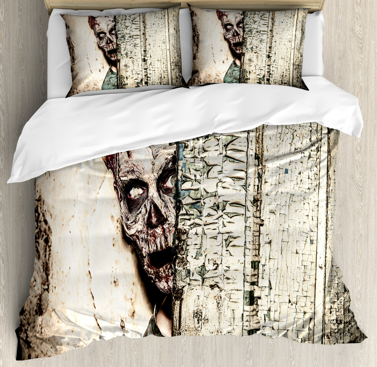 Zombie Duvet Cover Set with Pillow Shams Old House Vampire Print