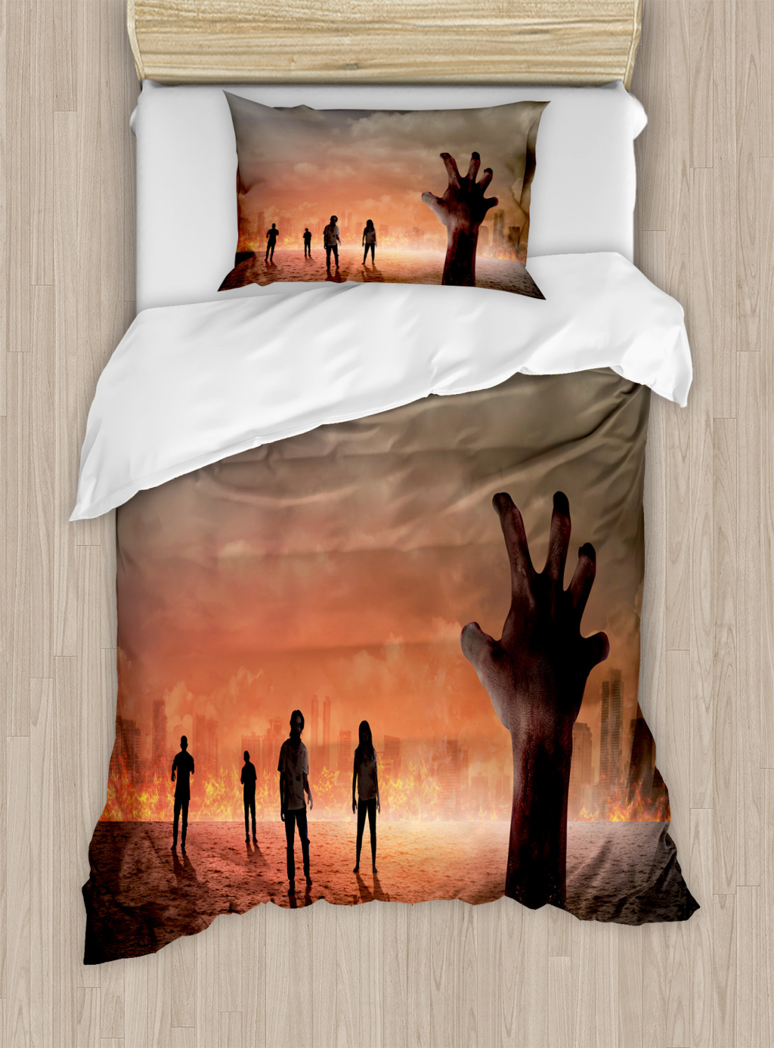 Zombie Duvet Cover Set with Pillow Shams Death Burning ...