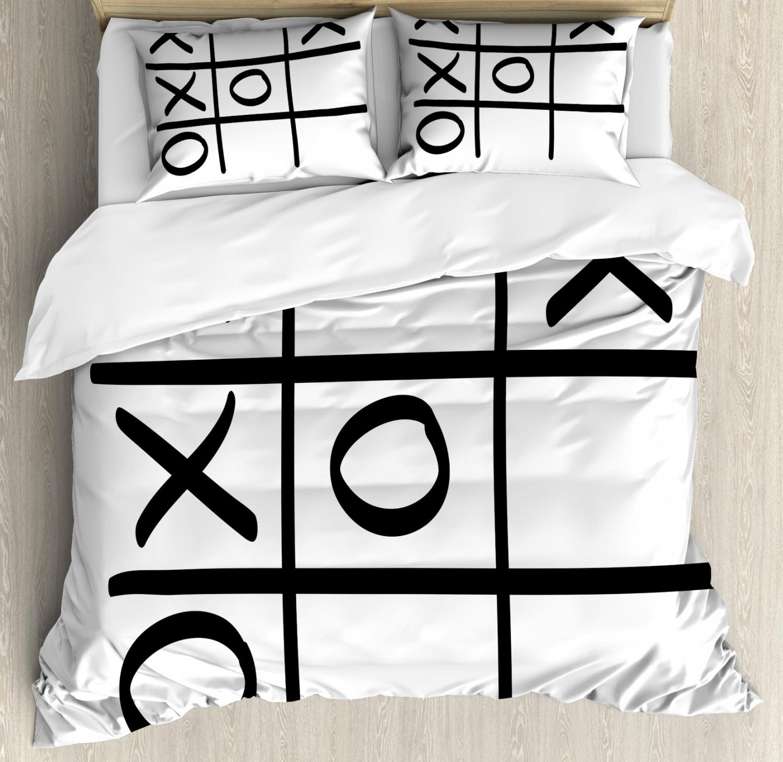 Xo Duvet Cover Set with Pillow Shams Game Hobby Pattern Artful Print