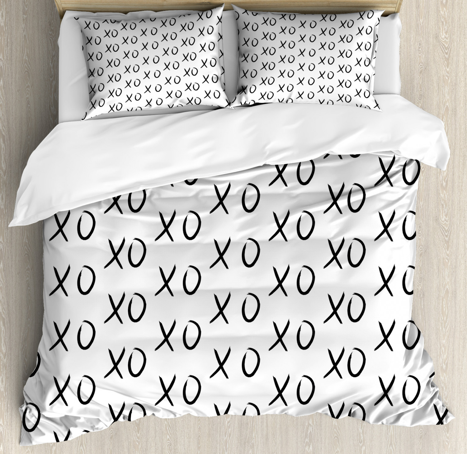 Xo Duvet Cover Set with Pillow Shams Affection Expression Kisses Print