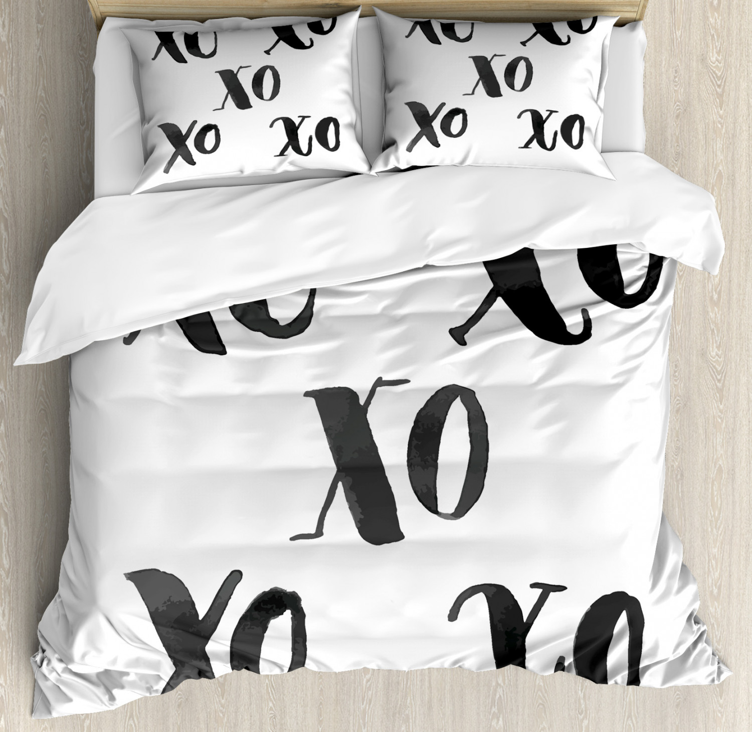 Xo Duvet Cover Set with Pillow Shams Classic Old Fashion Letters Print