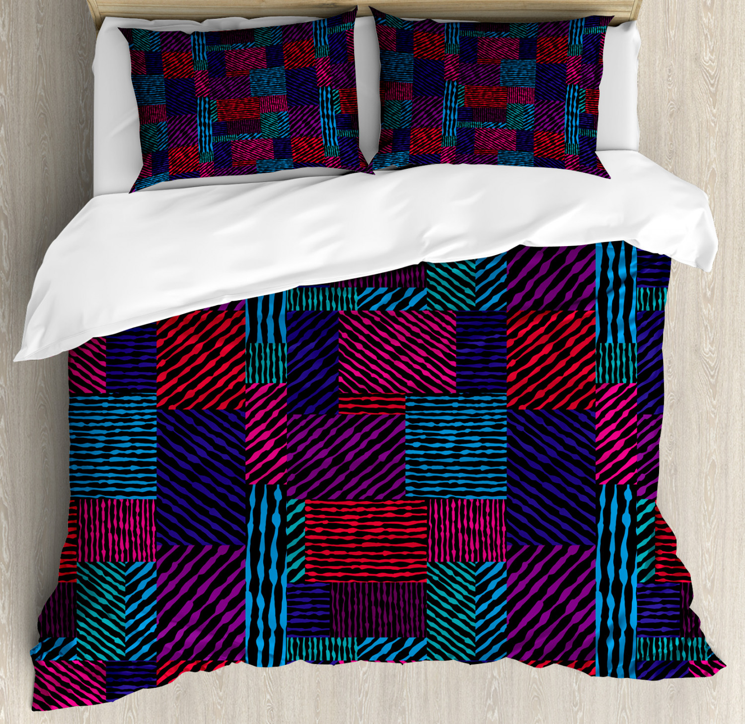 Abstract Duvet Cover Set with Pillow Shams Trippy Modern Wavy Print