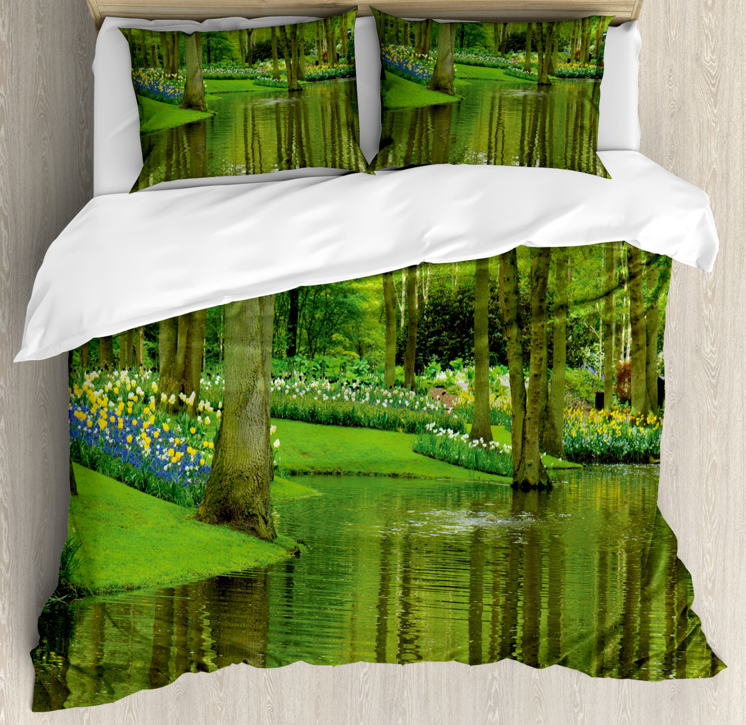 Nature Duvet Cover Set with Pillow Shams Forest with Lake Botany Print