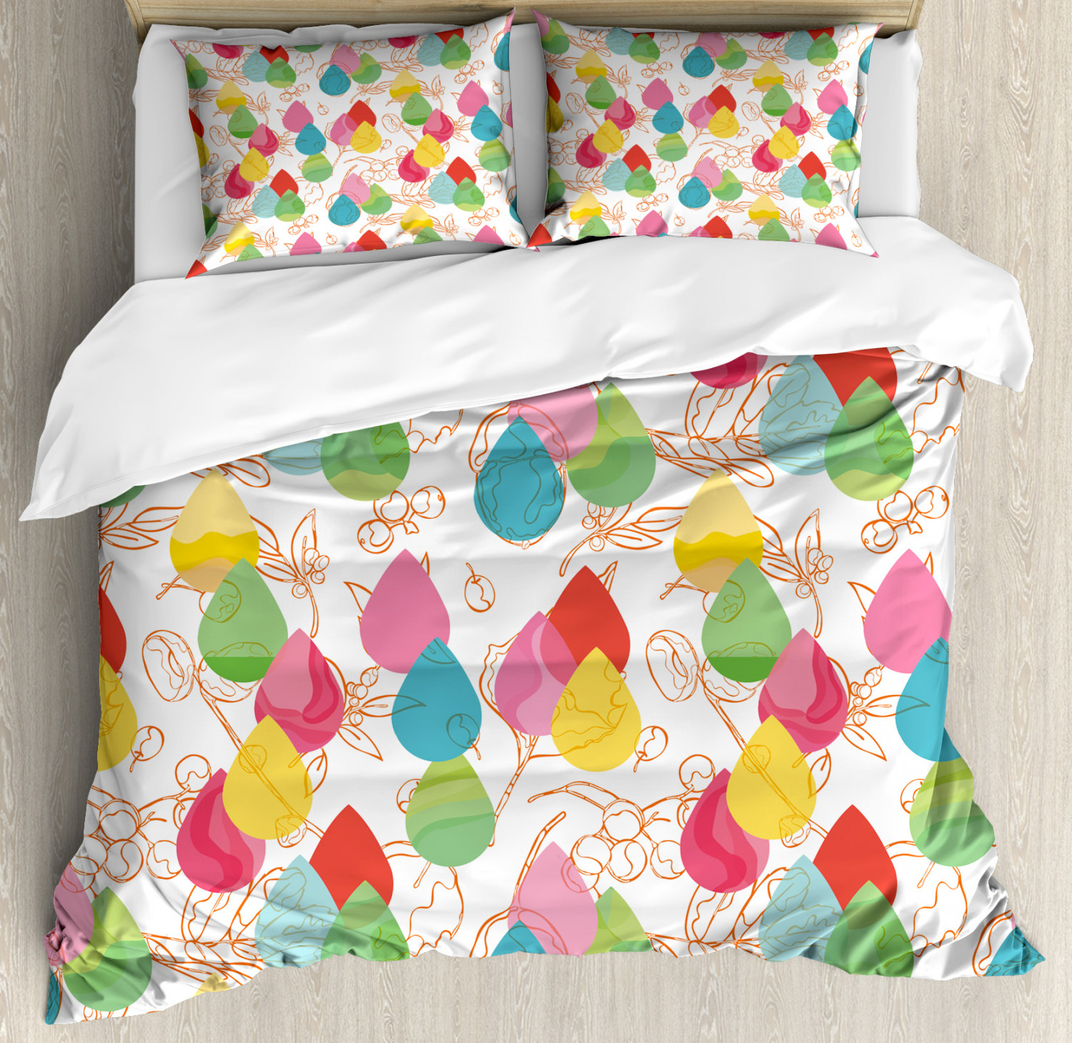 Abstract Duvet Cover Set with Pillow Shams Cherry Branches Lines Print
