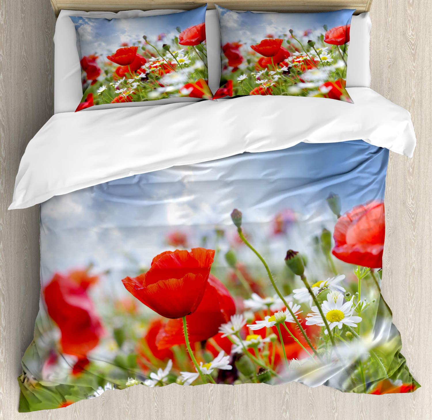 Country Duvet Cover Set with Pillow Shams Spring Meadow Print
