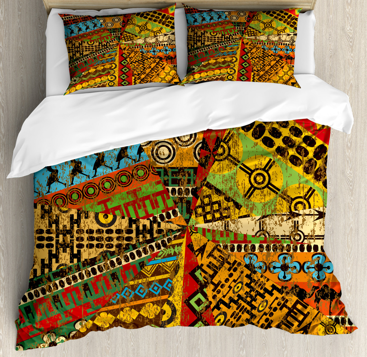 African Duvet Cover Set with Pillow Shams Grunge Ethnic Moti