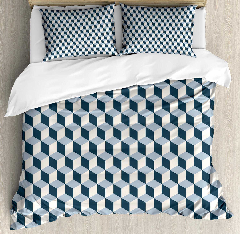 Retro Duvet Cover Set with Pillow Shams Cubes Squares 3D Style Print