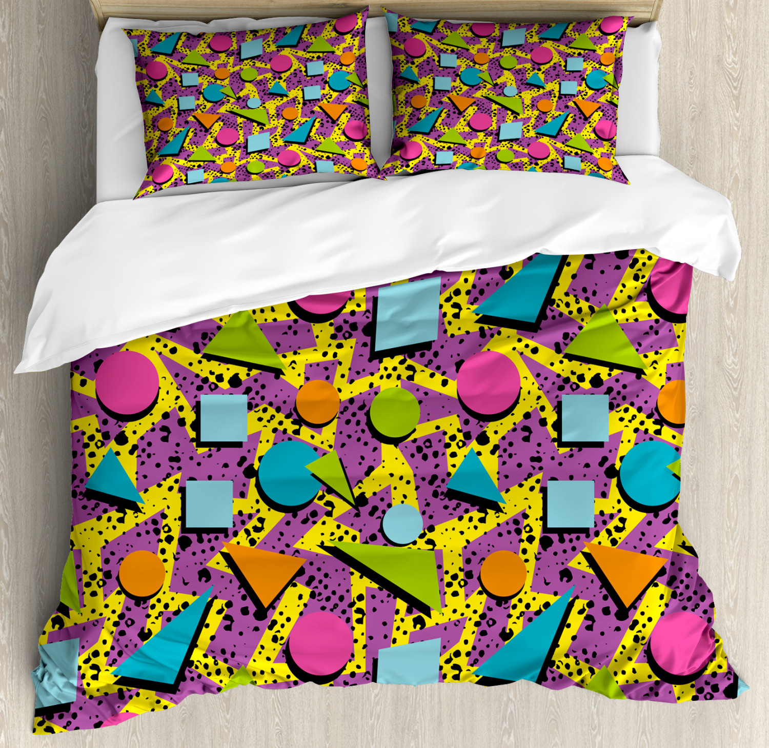 Vintage Duvet Cover Set with Pillow Shams Funky Geometric Style Print