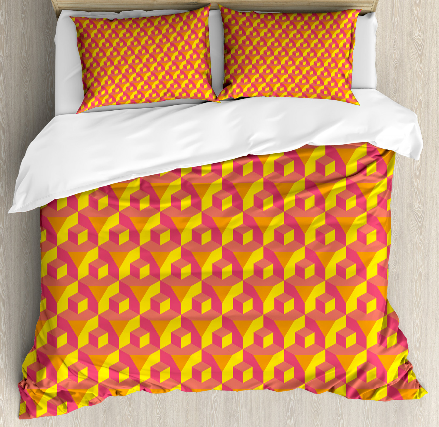 Abstract Duvet Cover Set with Pillow Shams Cube Prisms Hipster Print