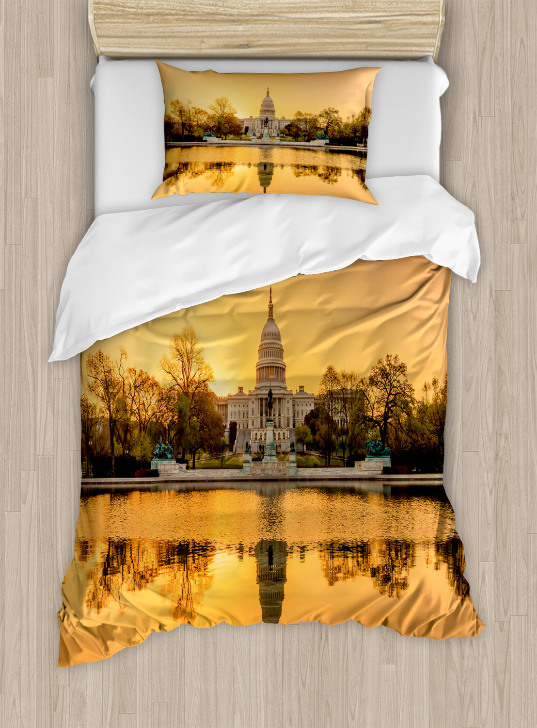 United States Duvet Cover Set with Pillow Shams Washington DC Print
