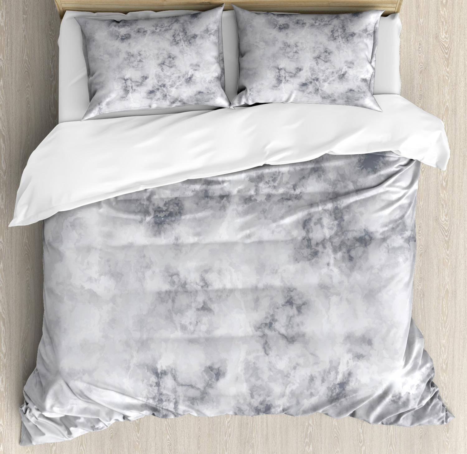 Marble Duvet Cover Set with Pillow Shams Granite Stormy Details Print