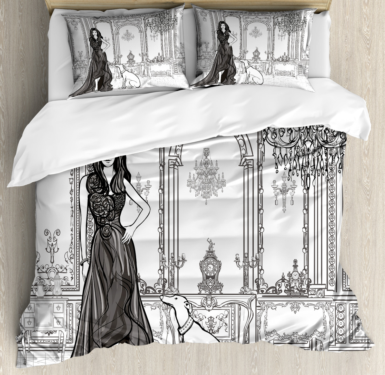 Teen Room Duvet Cover Set with Pillow Shams Sexy Fashion Woman Print