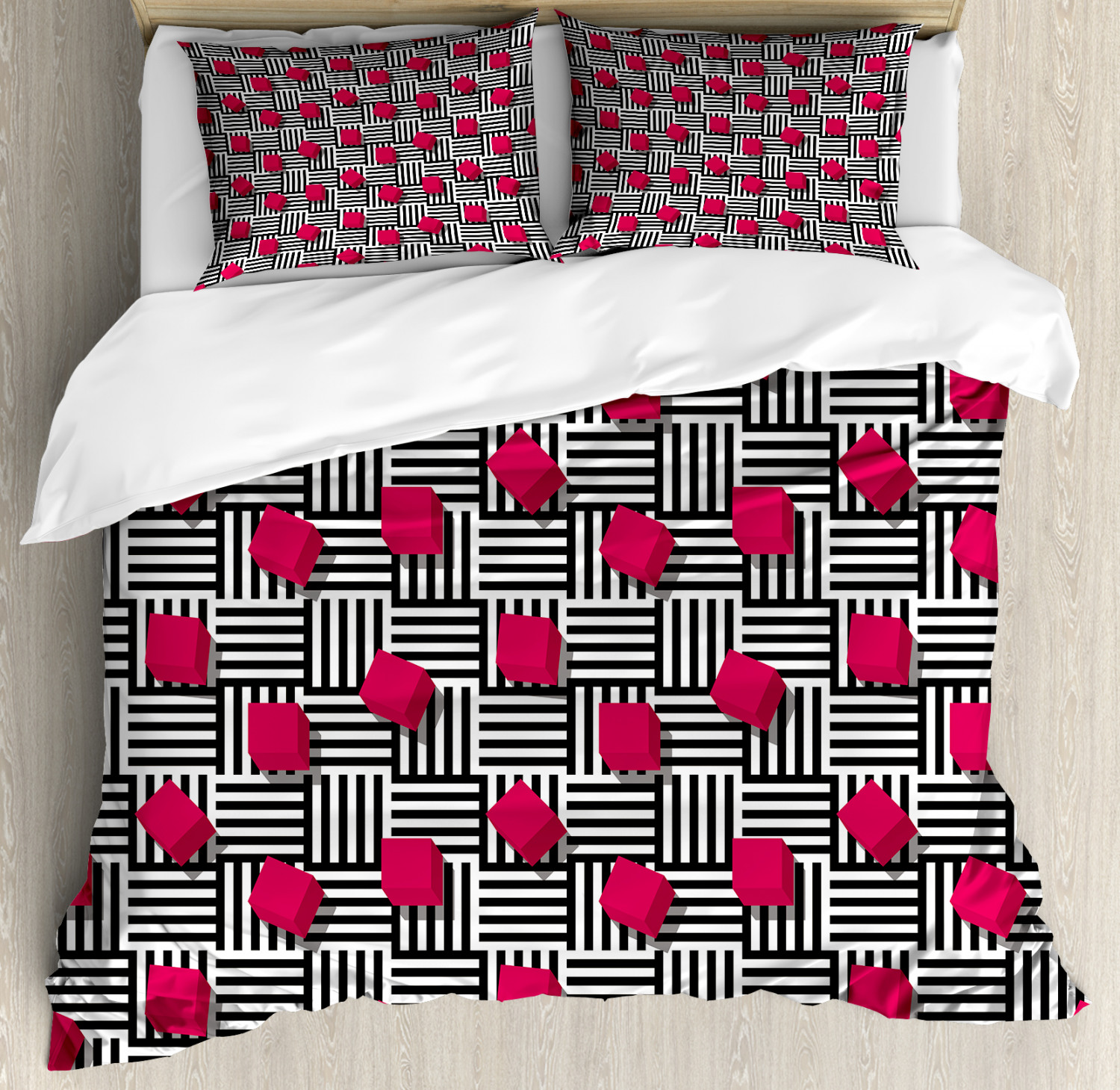Teen Room Duvet Cover Set with Pillow Shams Geometric Artistic Print