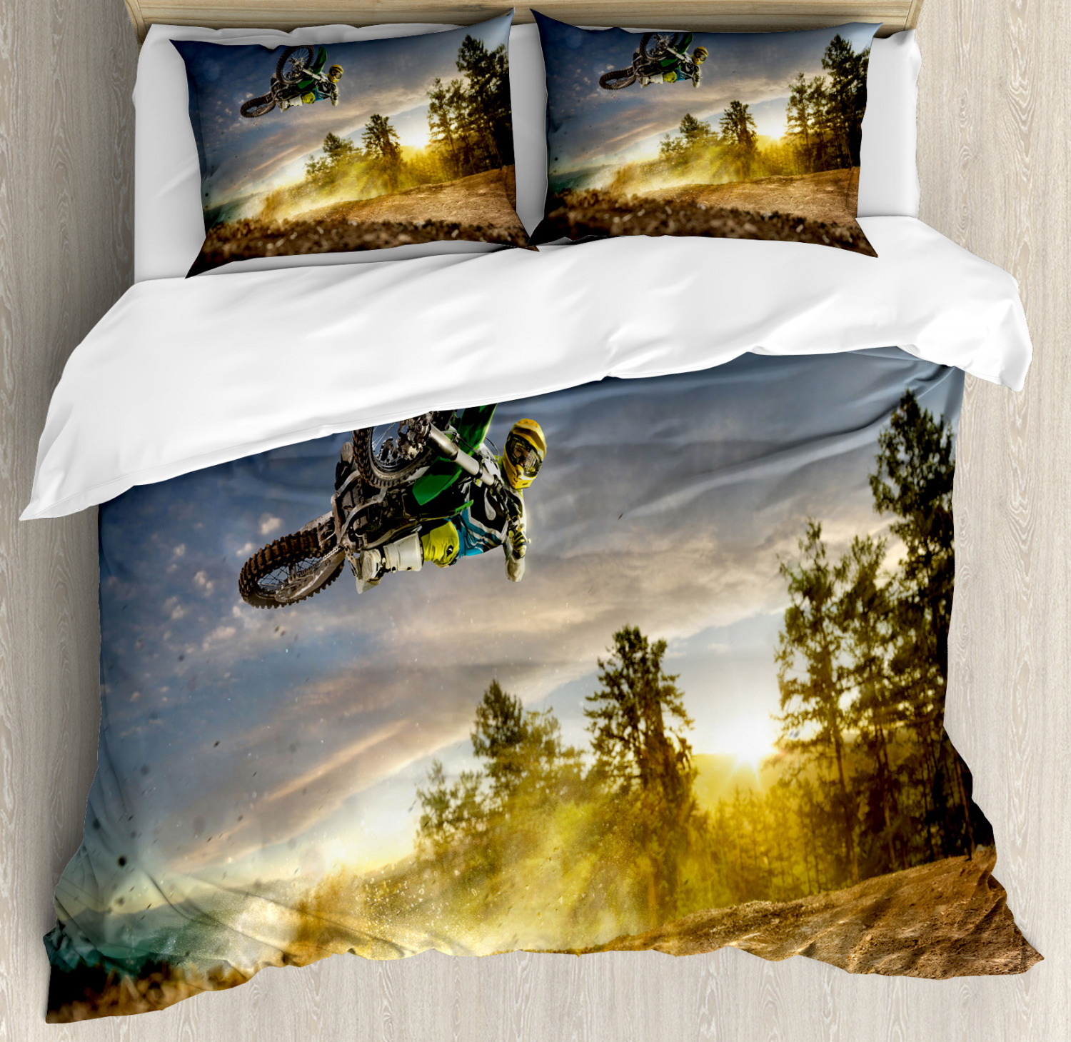 Teen Room Duvet Cover Set with Pillow Shams Extreme Sports Exotic Print