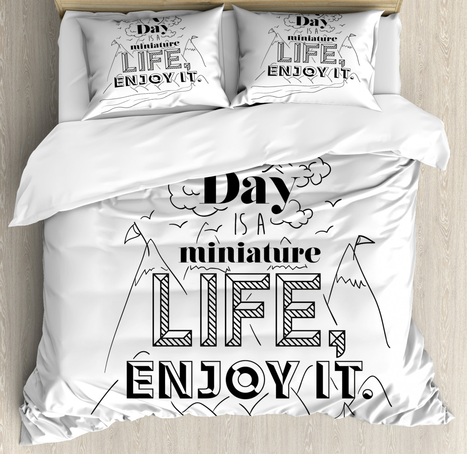 Quote Duvet Cover Set with Pillow Shams Positive Life Message Print