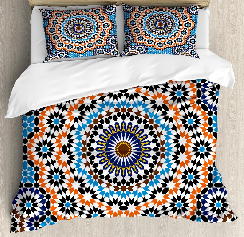 Vintage Duvet Cover Set with Pillow Shams Mgoldccan Ceramic Tile Print