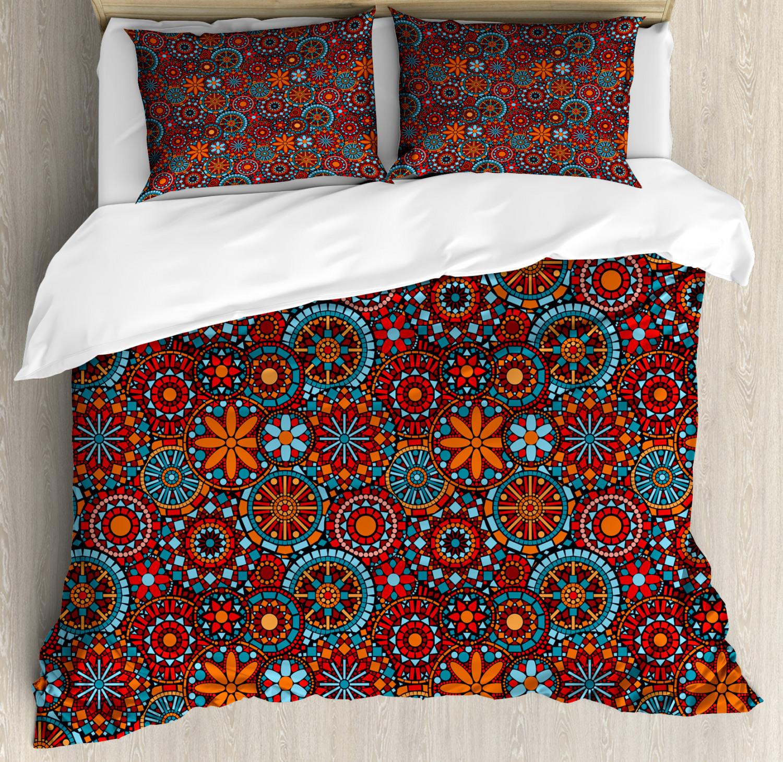 Mandala Duvet Cover Set with Pillow Shams Ethnic Floral Print