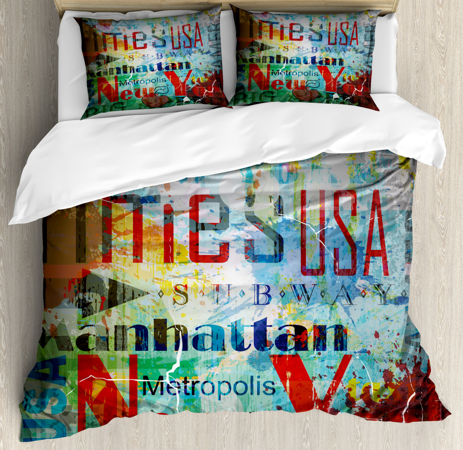 New York Duvet Cover Set with Pillow Shams Grunge Words Culture Print