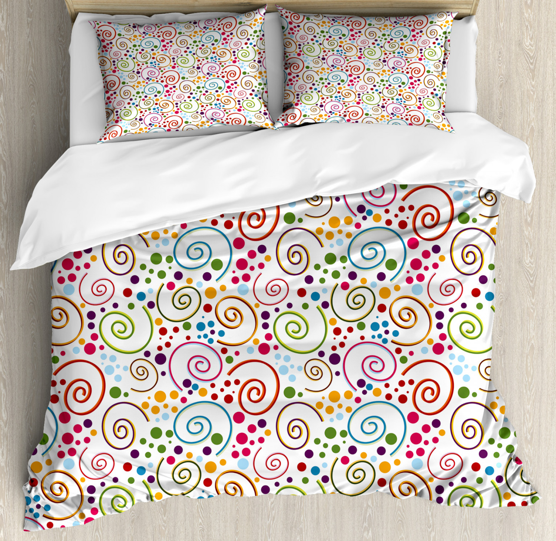 Coloreeful Duvet Cover Set with Pillow Shams Vibrant Curls Spirals Print