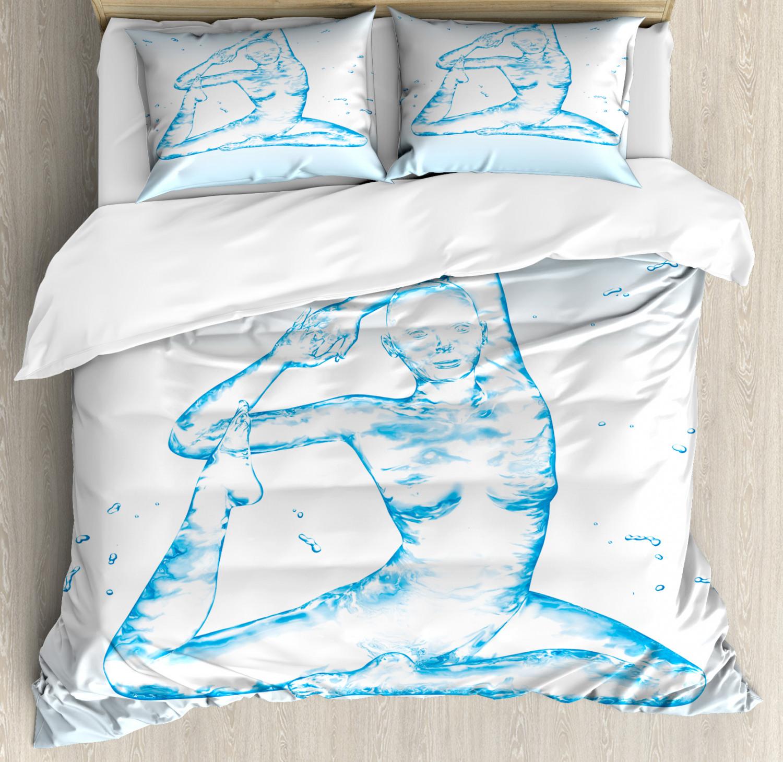 Yoga Duvet Cover Set with Pillow Shams Aquatic Woman Zen Pose Print