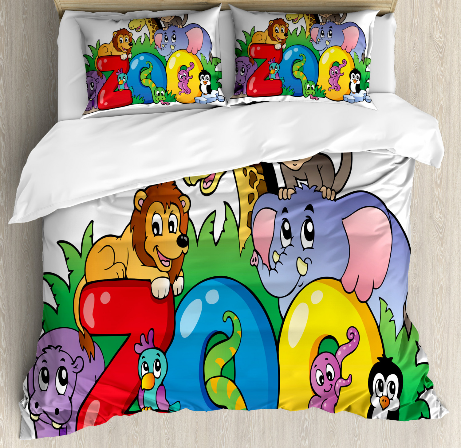 Zoo Duvet Cover Set with Pillow Shams Zoo Sign Various Mascots Print